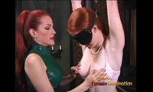 Latex-clad redhead doxy has her way with a freckled ginger hussy