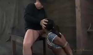 Bound dark slutwife drilled by white slaver 10-Pounder