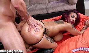 Burningangel large arse punk babe oiled and analed