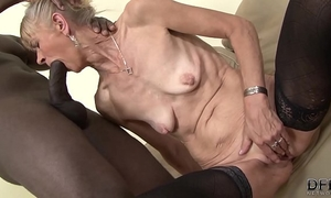 Granny drilled hard in her a-hole by dark dude that babe acquires creampied