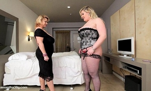 Bbw cougar dildos hawt overweight breasty chick in hotel room