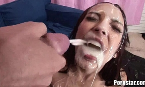 Danni cole receives a bukakke treat from 2 giant dicks