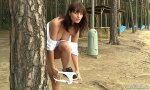 Busty legal age teenager rita masturbate outdoors