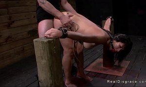 Dark haired oriental chick manacled and screwed