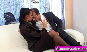 Clothed stocking sweetheart snatch oral-sex