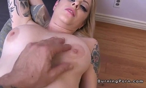 Shaved tattooed blond nicole malice receives facial pov