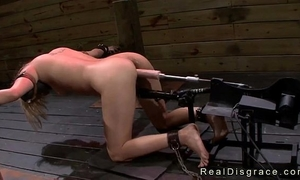 Bent over and bound golden-haired coarse drilled