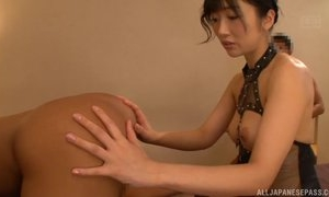 Asian harlot licks lover's asshole before getting fucked