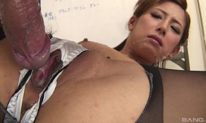 Japanese office babe gets fucked hard through the hole in her panties