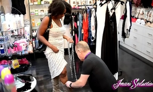Sex shop foot serf trampled by imani seduction