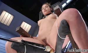 Babe restrained to chair for snatch toying