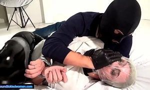 Ammalia handsmothered fastened tickled and suffocated by a guy in balaclava